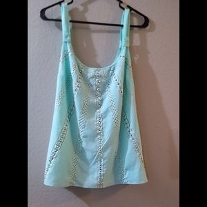 Turquoise embellished top